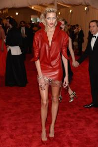 This is a model I don't know name Anja Rubik. I just loved the red leather. Meow!